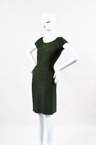 Hervé Leger Olive Cap Sleeve Bandage Dress