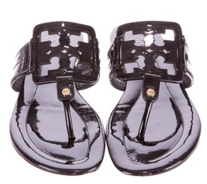 Tory Burch Miller Patent Leather Reva Black Sandals