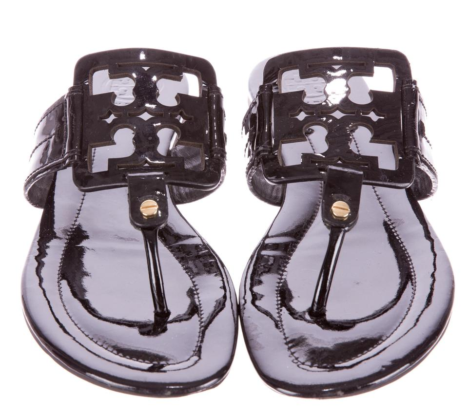 151f62ca3e78e Tory Burch Black Patent Leather Square Miller M Sandals Size US 9.5 ...