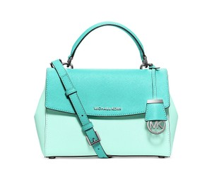 Michael Kors Ava Small Top Handle Colorblock Crossbody Saffiano Leather Satchel in Celedon / Azure / Silver