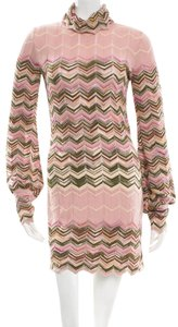 Missoni short dress Pink, Brown, Beige Knit Striped Chevron V-neck Longsleeve on Tradesy