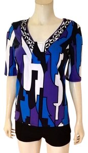 Emilio Pucci Size It 36 Small Abstract Top black, blue, purple, white