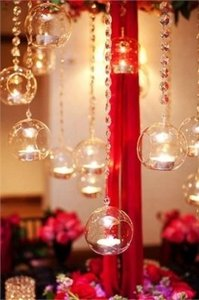 Clear 12- Glass Bubbles +free Crystal Garland Reception Decoration