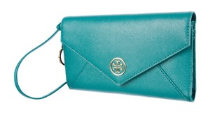 Tory Burch Blue-green leather Tory Burch envelope wallet
