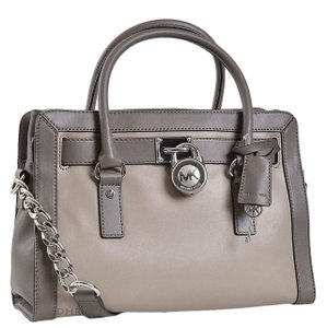 Michael Kors Hamilton Frame Out Satchel in Dark Taupe / Elephant
