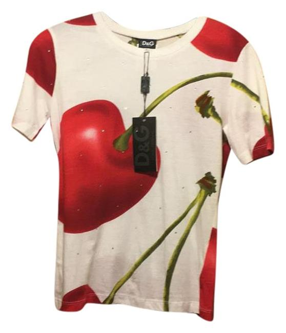 Item - White/Red Tee Shirt Size 12 (L)