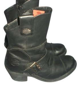 Harley Davidson Leather Moto Ankle Midcalf Black Boots