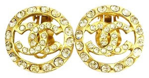Chanel CHANEL Vintage Gold Tone Clip-on Crystals Earrings
