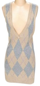 Plenty by Tracy Reese short dress Beige Knit Argyle V-neck Shift Sheath on Tradesy