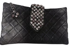 Chanel Black and Silver Clutch