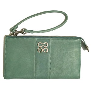Coach Leather Wallet Green Wristlet in Turquoise