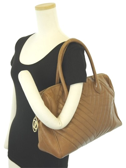 "Chanel Xl 14"" Quilted Large Bowler In Brown with Gold Charm Cc Zip Caviar Leather Tote"