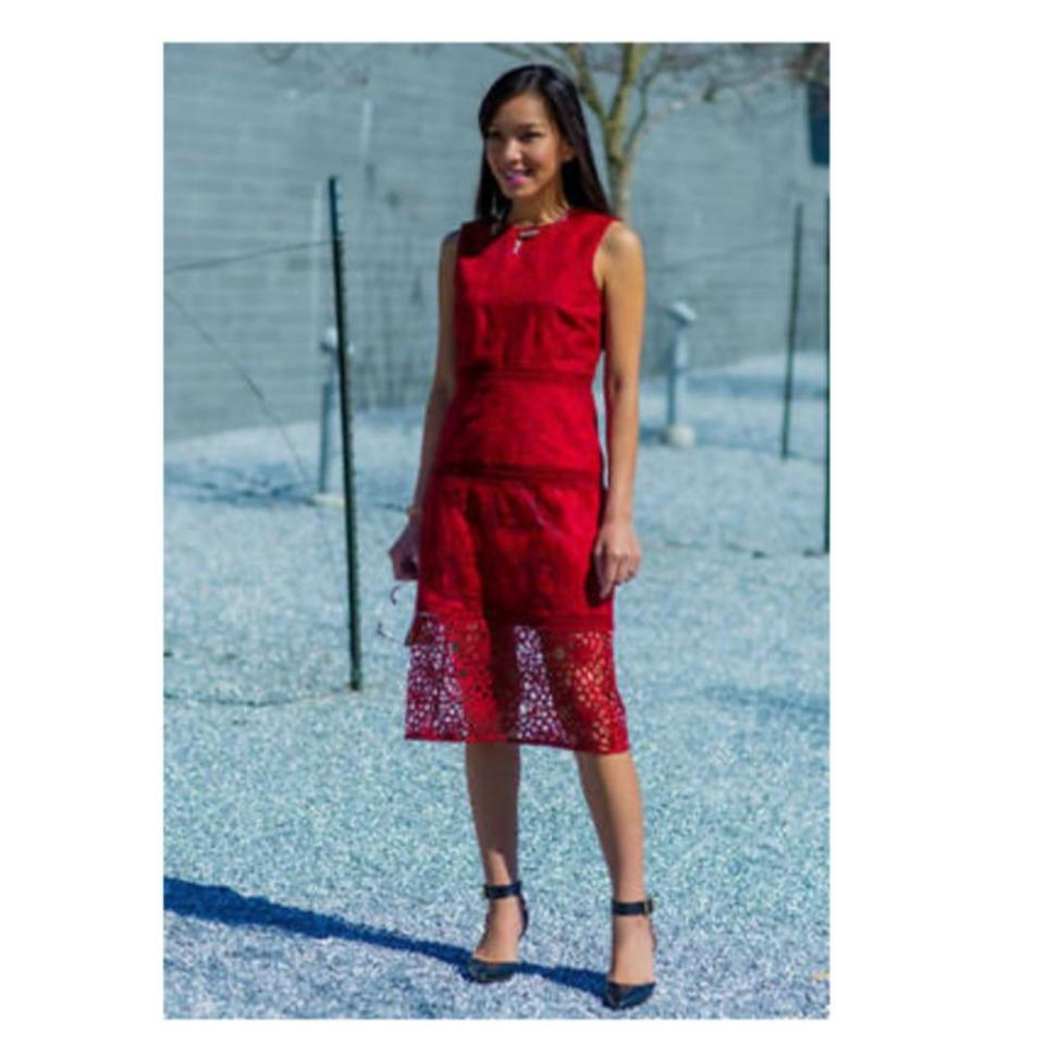 Zara Red Embroidered Lace 1489 Knee Length Short Casual Dress Size
