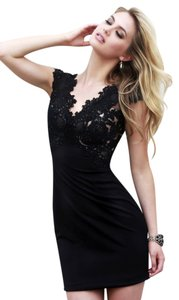 Sherri Hill Lace Bow Sleeves Party Mini Dress