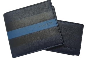 Coach NEW COACH men's colorblock Navy striped Black leather wallet ID case