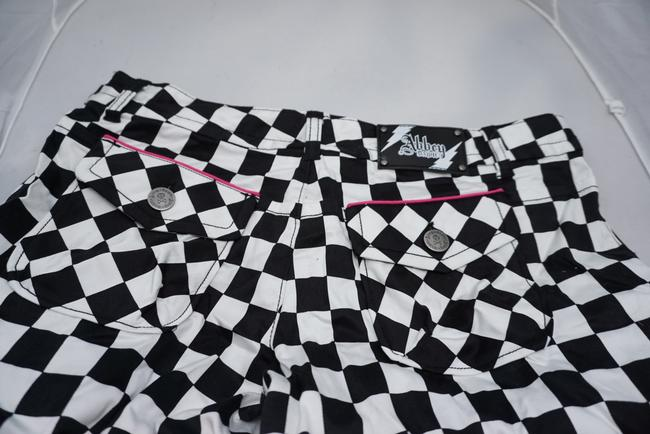 Abbey Dawn by Avril Lavigne Checkered Board Shorts black and white