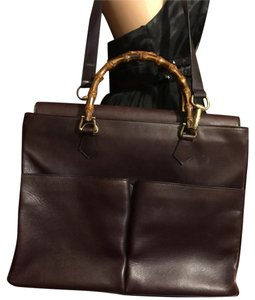 be604717eee Added to Shopping Bag. Gucci Laptop Bag. Gucci Bamboo Handle Briefcase Dark- burgundy ...