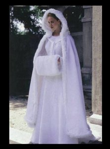 David's Bridal White Cloak With Hand Warmer Wedding Dress