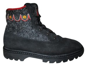L.L.Bean Leather Suede Wool Hiking black, grey & red Boots