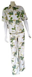 Carvela Kurt Geiger GEIGER White Yellow Green Linen Cotton Pants Top Set 36/38 6/8
