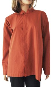 Eskandar Stand Collar Top Burnt Orange