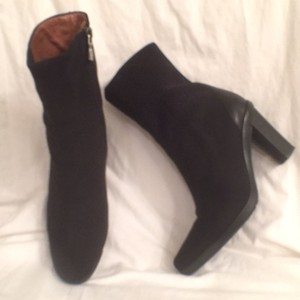 Donald J. Pliner Leather Nylon Platform Comfortable Black Boots