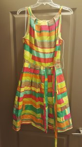 Leslie Fay short dress Pink, yellow, orange, blue, green Easter Bright Color Tea on Tradesy