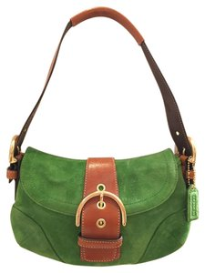 Coach White Leather Logo Handbags Satchel in Green Suede