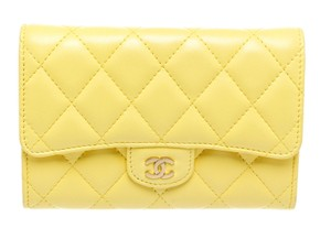 Chanel Chanel Yellow Quilted Lambskin Leather Gold CC Closure Wallet
