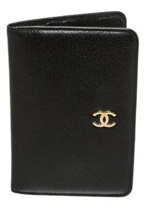 Chanel Chanel Black Leather Gold CC Card Holder Wallet