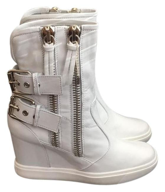 Item - White New Buckled Leather Wedge Sneakers Boots/Booties Size EU 40 (Approx. US 10) Regular (M, B)
