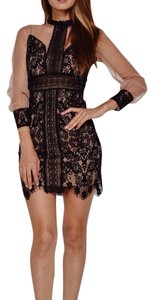 Jealous Tomato short dress Black Lace Tan Mesh on Tradesy