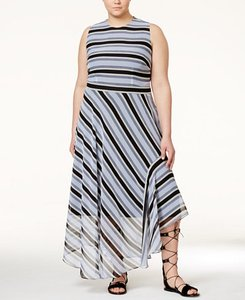 denim combo Maxi Dress by Rachel Roy