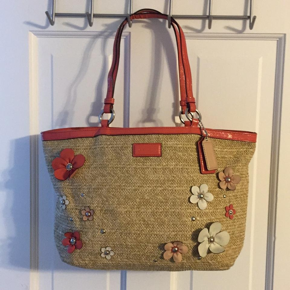 Coach Patent Flower Applique Purse Tan And Pink Straw Leather Tote