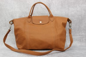 Longchamp Camel Leather Cuir Tote in Natural