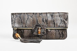 Gucci Dark Python Embossed Leather Lucy Gray Clutch