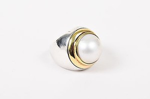 David Yurman David Yurman Sterling Silver 18k Yellow Gold Pearl Ring