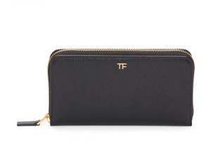 Tom Ford Tom Ford Black Leather Leather Zip-Around Logo Continental Wallet