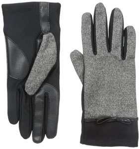 Isotoner Black Stretch Tweed Bow smarTouch Fleece Lined Gloves M L