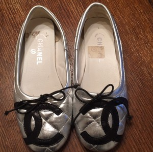 Chanel Silver with black chanel logo Flats