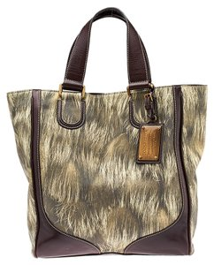 Dolce&Gabbana Fur Leather Tote in Green