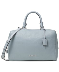 Michael Kors Kirby Large Leather Satchel in Dusty Blue