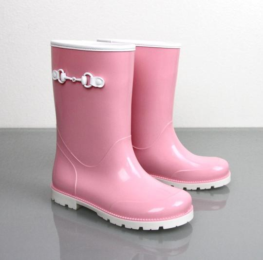 Gucci Pink Horsebit Kids Unisex Childrens Rain Boot W/Horsebit G 26/ Us 10 285287 285288 Shoes