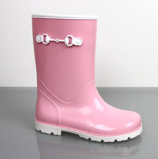 Gucci Pink Horsebit Kids Unisex Childrens Rain Boot W/Horsebit G 30/ Us 12.5 285287 285288 Shoes