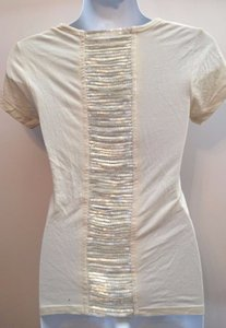 Kate Moss for Topshop Vintage Sequin Open Back T Shirt cream