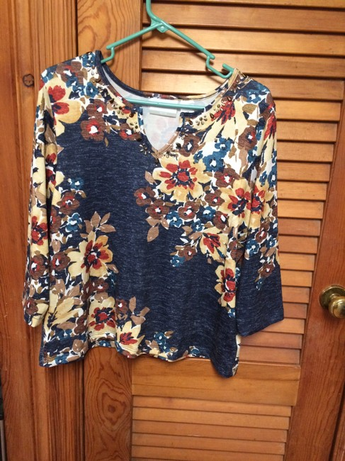 Preload https://item1.tradesy.com/images/alfred-dunner-browns-and-blues-fall-colors-stretch-embellished-34-slv-pm-sweaterpullover-size-petite-19997325-0-0.jpg?width=400&height=650