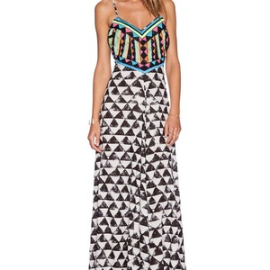 Black and White with neon beading Maxi Dress by Mara Hoffman