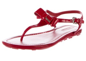 Prada Patent Leather Silver Hardware Bow Ankle Strap Logo Red, Silver Sandals