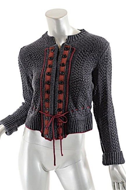 Preload https://img-static.tradesy.com/item/19997416/chloe-gray-and-red-charcoal-sweater-wfaux-db-cardigan-size-4-s-0-0-650-650.jpg