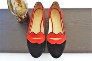 Charlotte Olympia Bisoux Smoking Slipper Red & Black Flats